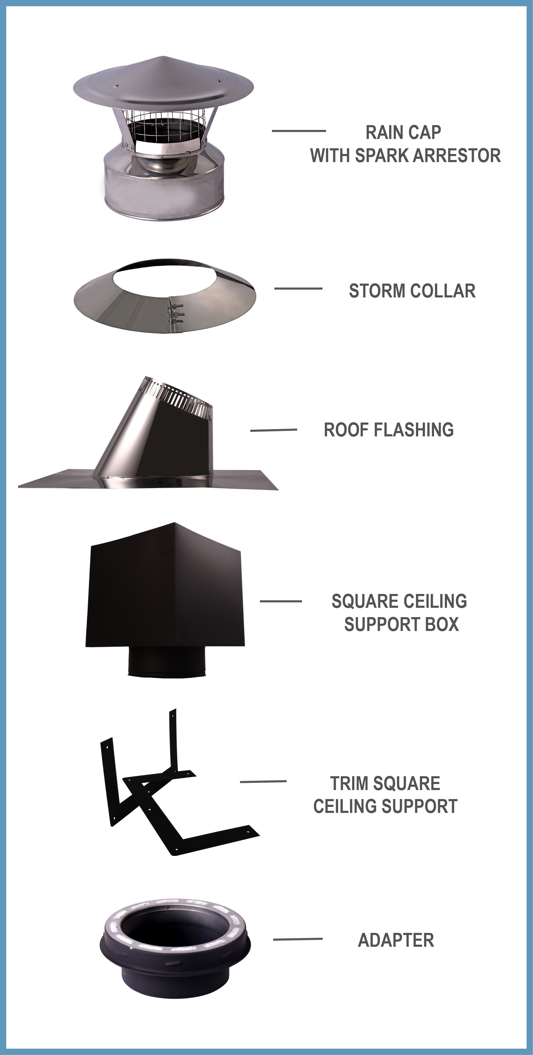 "6"" Cathedral Ceiling Support Kit Double Wall Stove Pipe ..."